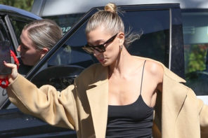Hailey Baldwin Nearly Face-PlantsComing Out Of Her Car In Massive Heels